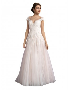 Shop Long Cathedral Train A-Line Ivory & Champagne Illusion Mariana Wedding Dress Adelaide